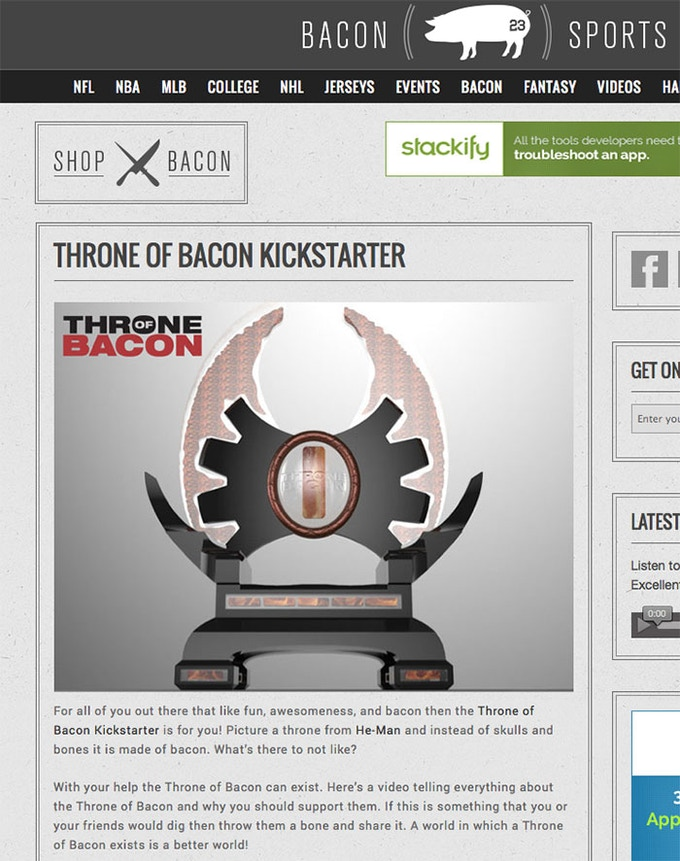 Throne of Bacon at Bacon Sports