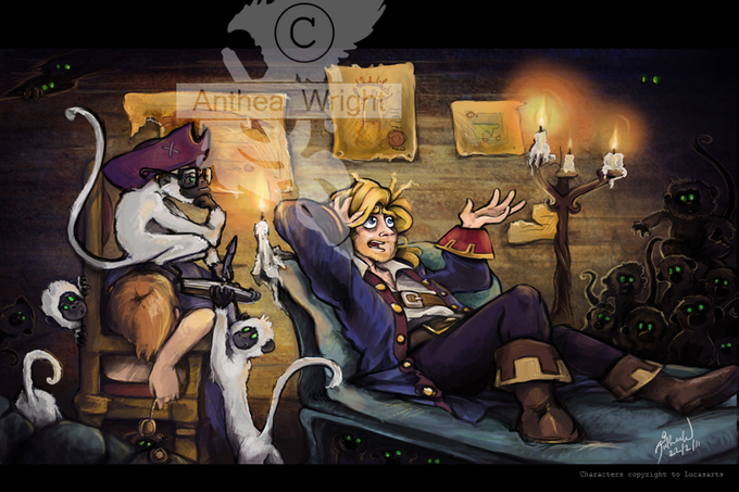Guybrush on the couch in some of Anthea's Monkey Island fan art