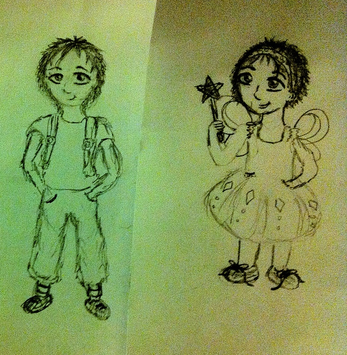 Tiny dressed as a boy and a girl