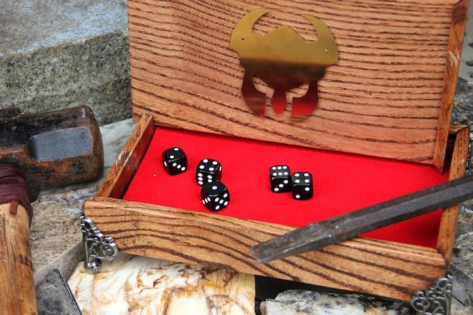 DICE CHEST & SYMBOL - White Ash, Red Oak finish, red felt, Helm symbol, nickel pedestal corners.