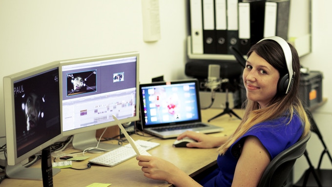 Artists' Assistant Sarah Julia Clark hard at work in the Blast Theory editing suite