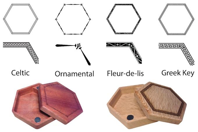 Ornamental pattern on bloodwood and Greek Key pattern on lacewood