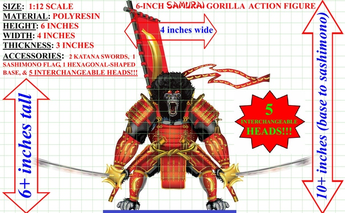 "For only $75.00 you get TWO 6-inch tall polyresin Silverback Samurais™ action figure, a ""THANK YOU"" postcard, and a 12x18inch calender poster! This is the drawing specs."