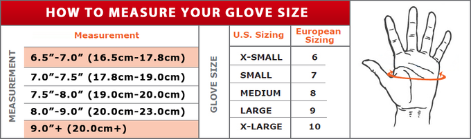 For size measurements, measure the circumference of your flat hand just under the knuckles (not including your thumb). The sizes currently available for production are Small, Medium, Large, and now - XL & XS!