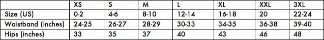 Leak Free's size chart