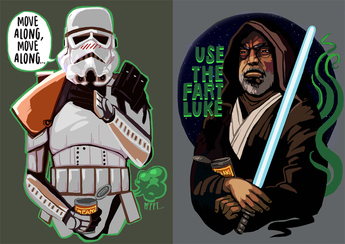 "Farting Stormtrooper, Davin Felth, shirt / Old Ben ""Use the fart"" Luke"