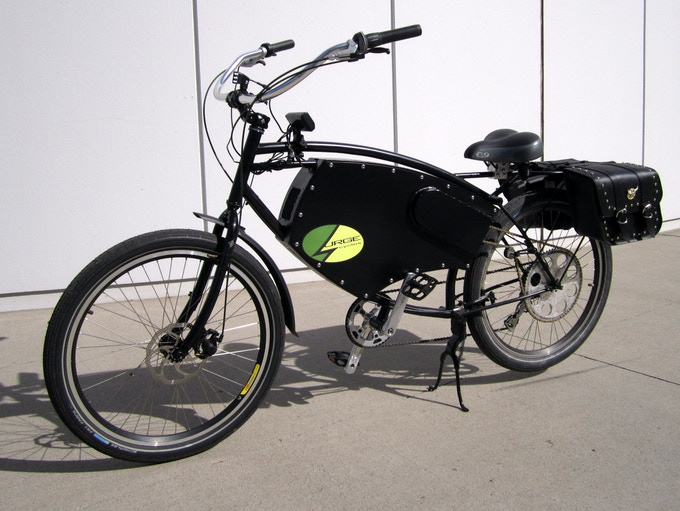 The E-Trekker by Surge Cycles, shown with optional saddlebags.