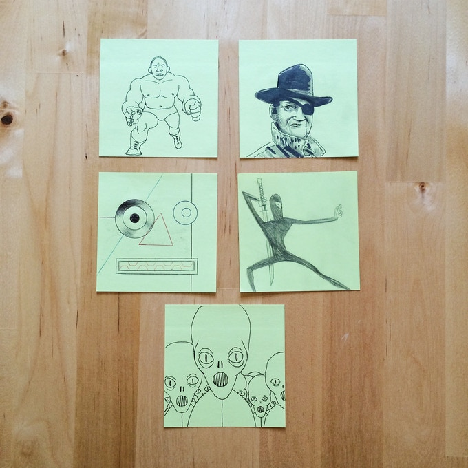 ($40 Tier Reward. Each Sold Separately) Clockwise from top left: Wrestler, John Wayne, Ninja, Aliens, and Robot. All by Jim Rugg