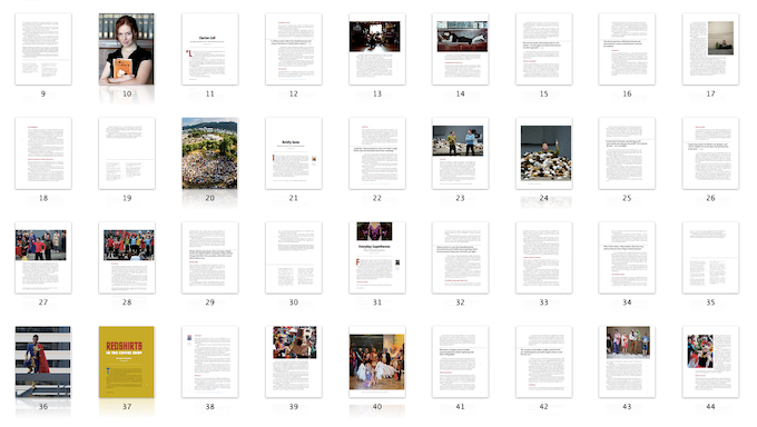 Thumbnails of book-page spreads from our first book