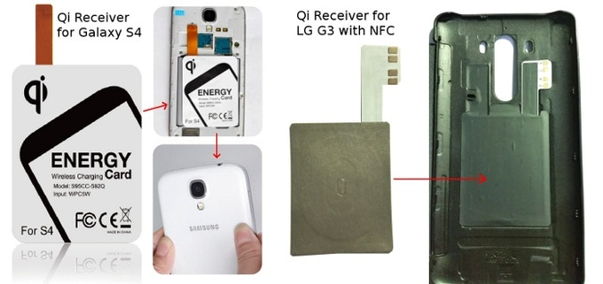 How a Qi receiver is applied on Samsung phones and LG G3.