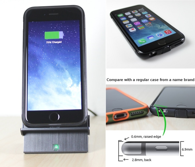 Prototype Ultimus Qi Case for iPhone 6: just like a regular case
