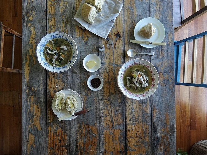 Soup with Australian Wild native spice and Wattle seed damper by Trish of Ink & Cleaver