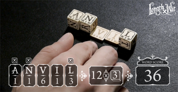 On your turn you may use the dice in your word as a score multiplier.