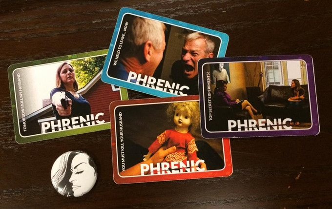 Phrenic cards and a pin. We've already got four character cards and plan four more as rewards. Maybe they'll have ARGs too? (Photo by @argmuseum)