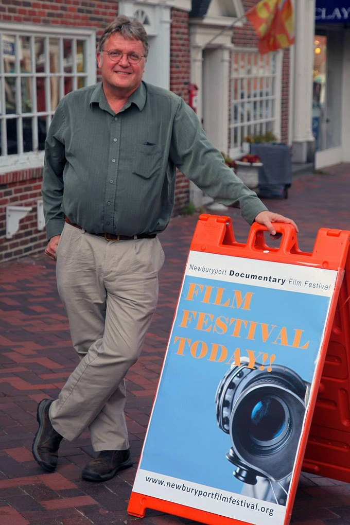 Don Wilding outside The Screening Room Theater prior to the Work in Progress Workshop Series at the Newburyport (Mass.) Film Festival, Sept. 20, 2014.