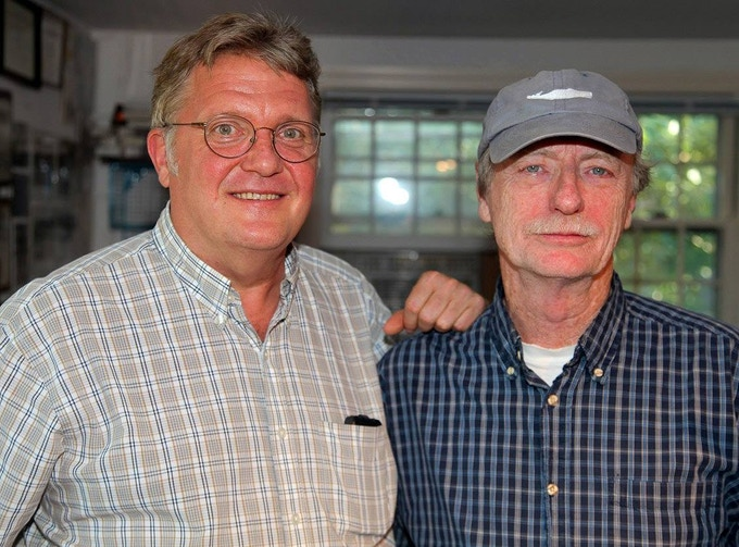 "Don Wilding, left, with ""Henry Beston's Cape Cod"" narrator Bob Seay of WGBH-FM in Boston."