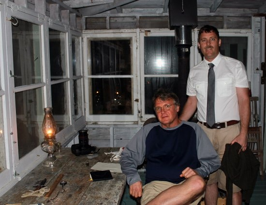 Don Wilding with Beston actor Chris Kolb on the set at the Ray Wells Dune Shack in Provincetown, June 2013.