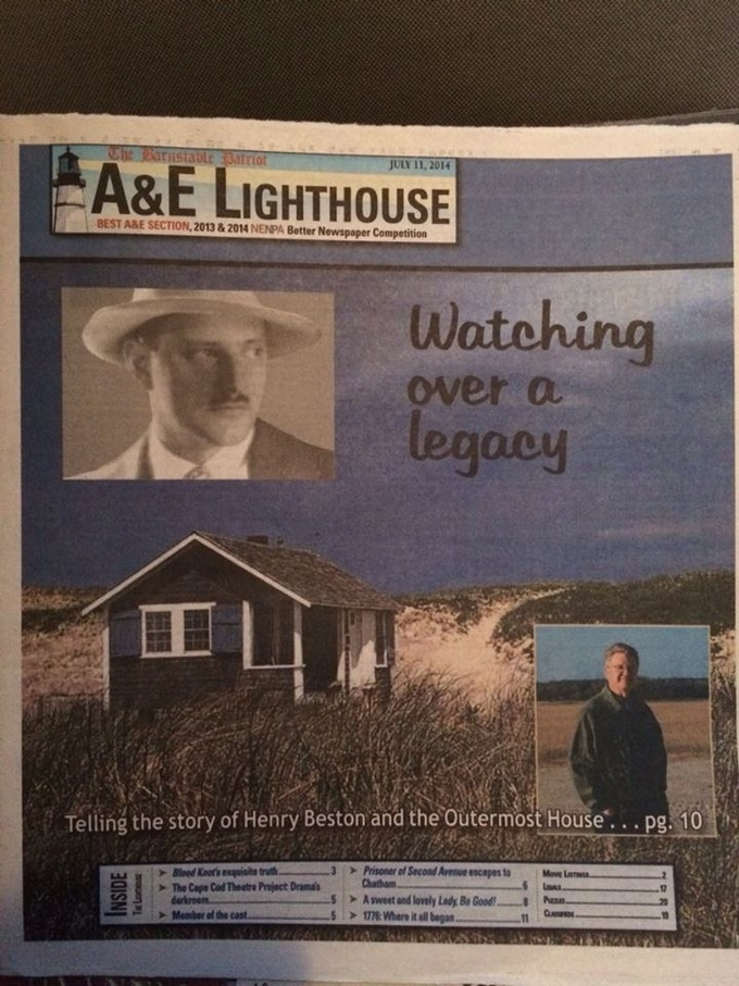 """Henry Beston's Cape Cod"" featured in The Barnstable Patriot, Barnstable, Mass., July 2014."