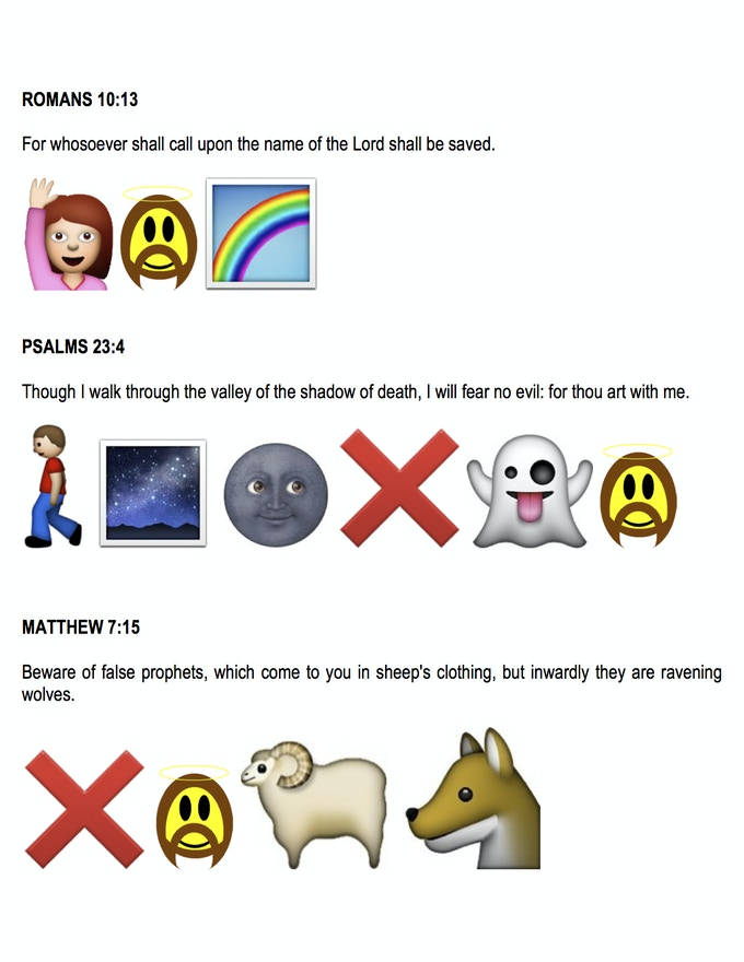 Bible Verses translated into Emoticons by Kamran Kastle