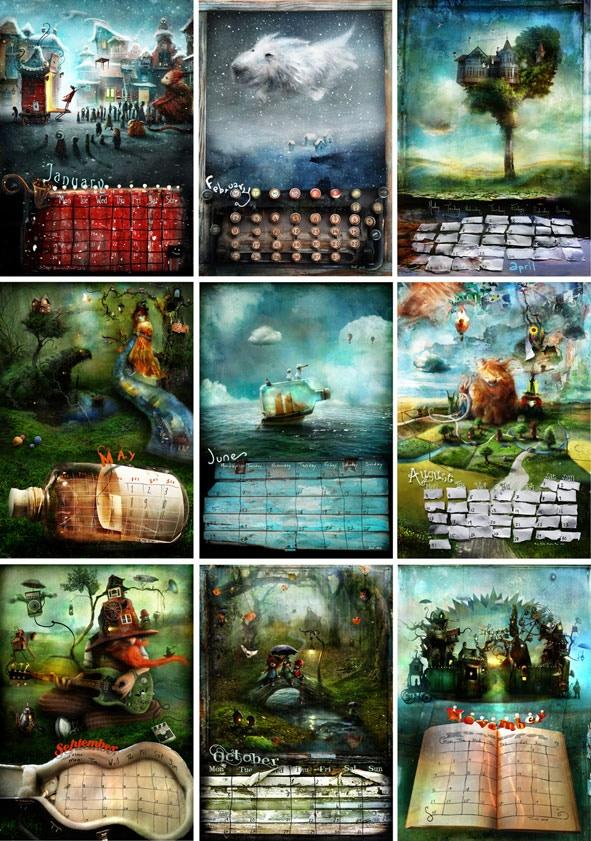 Nine of twelve calendar pages.