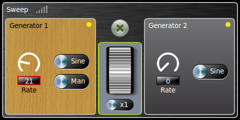 Settings screen for the sweep generators