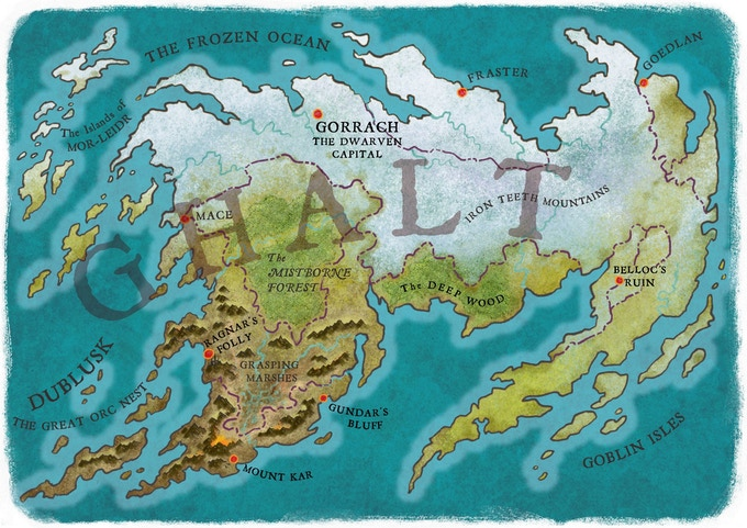 Ghalt, the continent over which the Orcs and Dwarves are warring...