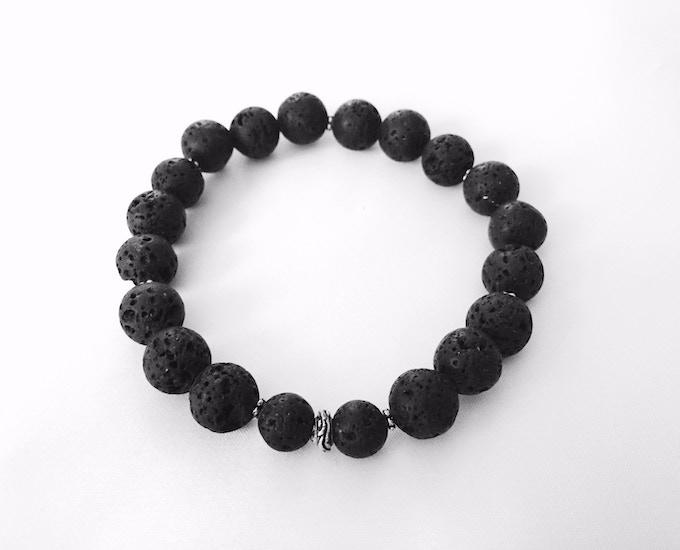 Unisex Black Lava Stone Bracelet (Reward #7)
