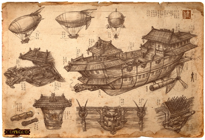 Dragon Airship Schematic by James Ng