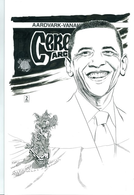 """BP #12 - 11"""" x 17"""" color reproduction of the alternate cover of Cerebus Archive #2"""