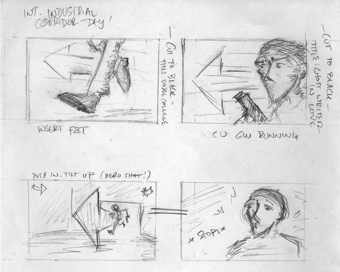 The cold open: a scene from within Brian's newest book (director's storyboard scribbles)