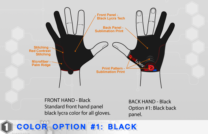 Note: Diagrams show only concepts of the DokiWear CG Art Glove. Final product will contain slight variations in pattern and color.