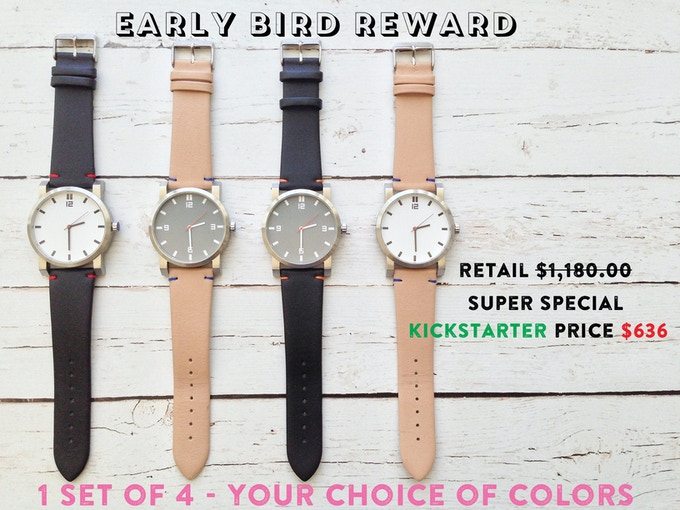 One set of 4 watches total - choose any color combination.