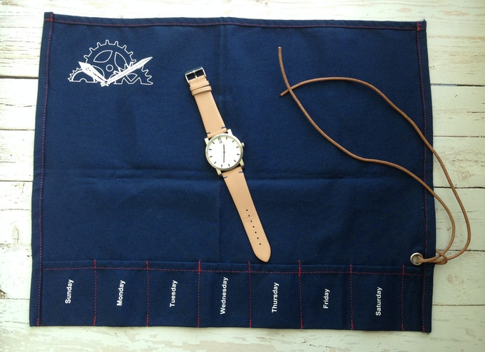 Watch with packaging - blue version.