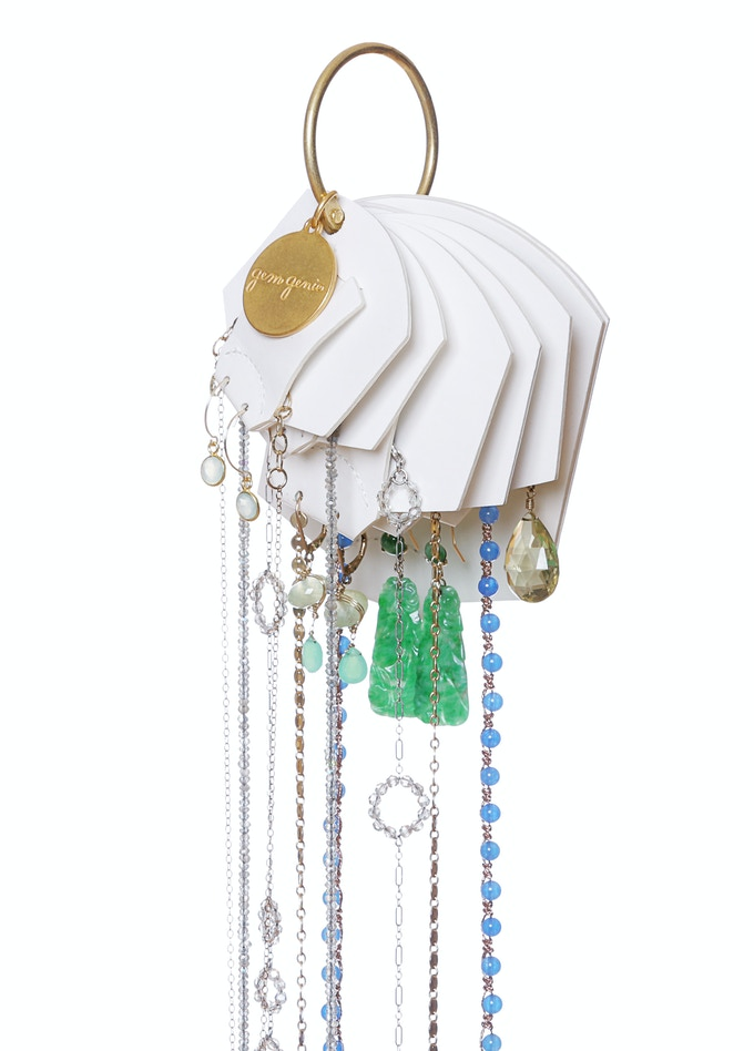 jewerly cards hang directly on the re-closable ring
