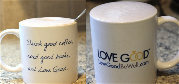 LoveGood ceramic mug - reward for $50 donation or higher (cappuccino not included!)