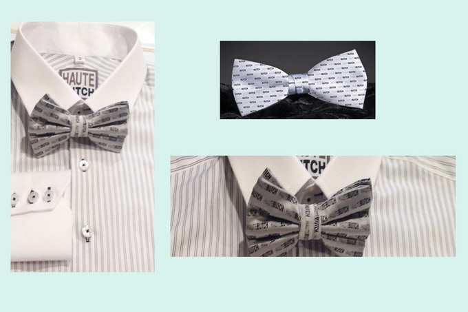 Pledge $45: Get a Newsboi and our Silk HauteButch Signature Bowtie: Pre-Tied (Shown here with the Navy double pinstripe shirt)
