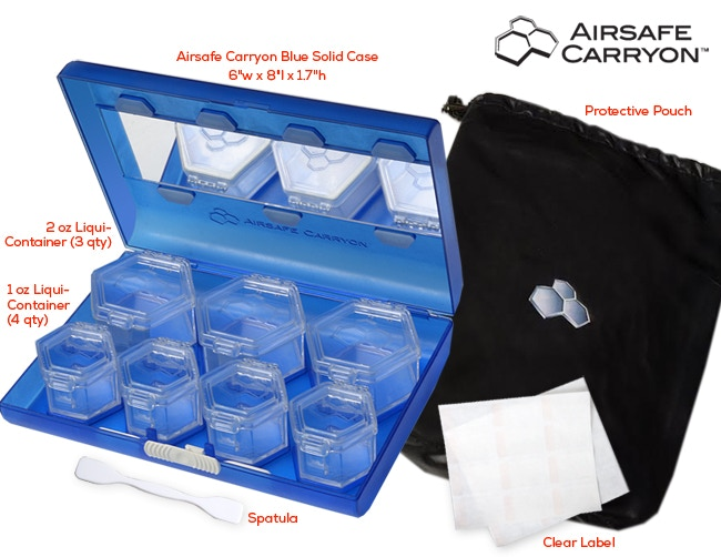 """The complete Airsafe Carryon travel system includes 7 Liquid Containers, 2 label sheets, 1 spatula & 1 protective pouch. The carrying case measures 6""""W x 8""""L x 1.7""""H."""