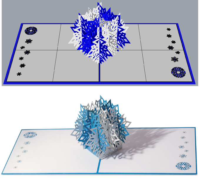 Cards are designed using CAD software.  Computer rendering on top compared to photograph of a completed card on the bottom.
