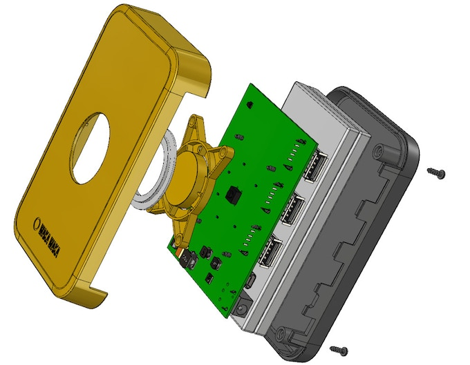 Exploded view, a technical drawing of the Base10