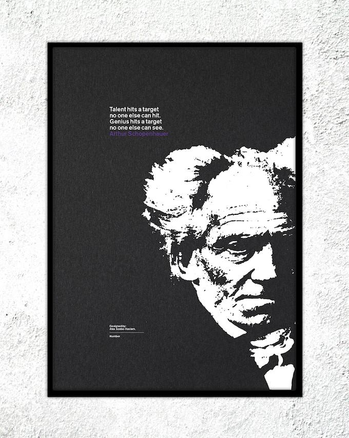 "2 – Arthur Schopenhauer: ""Talent hits a target no one else can hit. Genius hits a target no one else can see."""