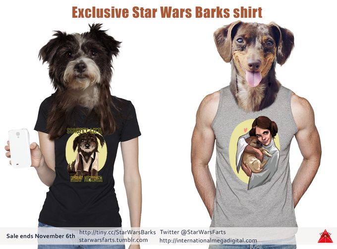 Woof! Check out these young, hip pups in their fresh Star Wars Barks gear