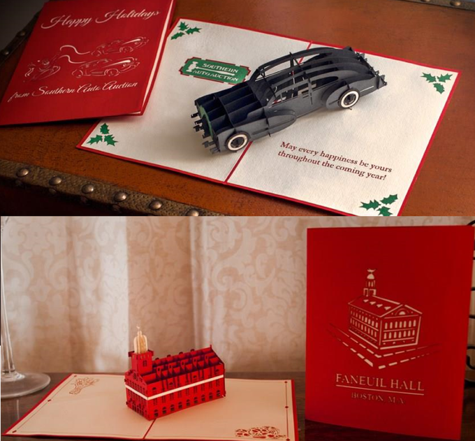 Custom cards created for a private business and an urban landmark