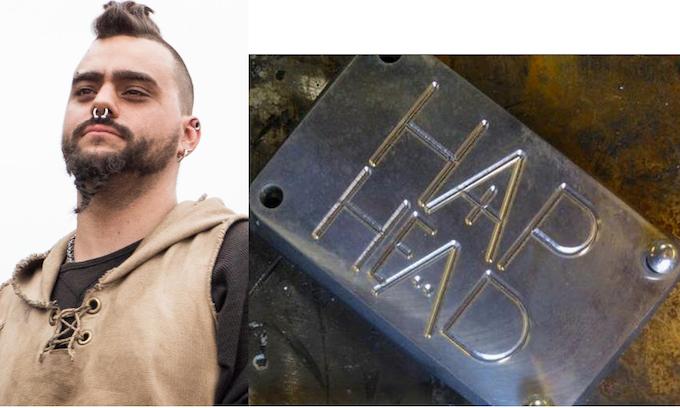 The Haphead belt buckle, created by actor Ryan Leis.