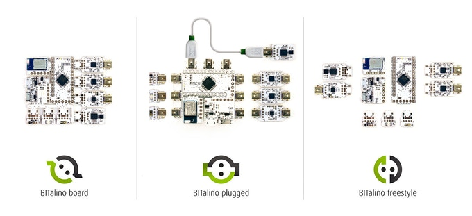 BITalino (r)evolution BOARD, PLUGGED and FREESTYLE prototypes