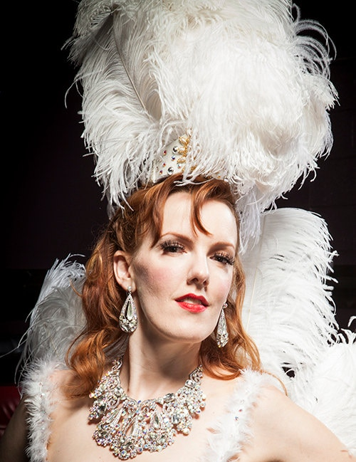 Red Hot Annie in one of her handmade showgirl headdresses