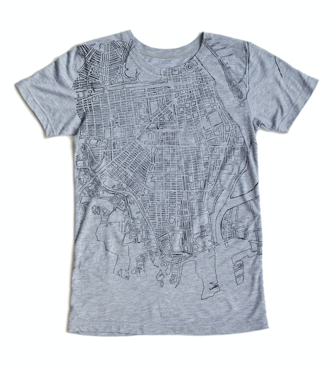Unisex t shirt with a print inspired by a map of Phnom Penh, made from comfy cotton jersey remnants