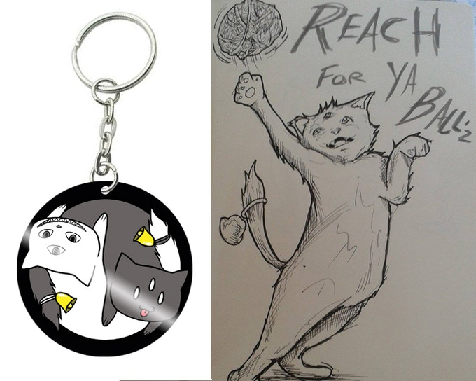 "2"" Acrylic cut keyring by Shibby, and Poster preview sketch by Shane"