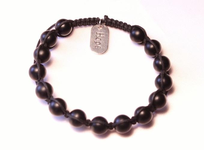 "Men's black onyx woven ""HOPE"" bracelet (Reward #8 option)"