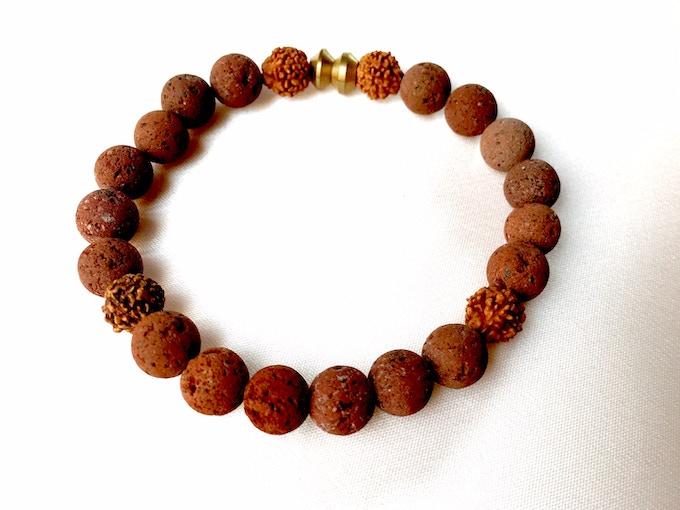 Women's brown lava stone/mala bead bracelet (Reward #7)