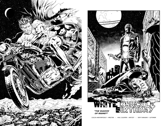 Cover and title page from White Knuckle Birthday #1: The Shadow of Regret